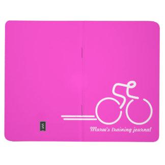 Ciclista/deportes que entrenan a blanco rosado del cuadernos