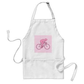 Ciclista en rosa delantal