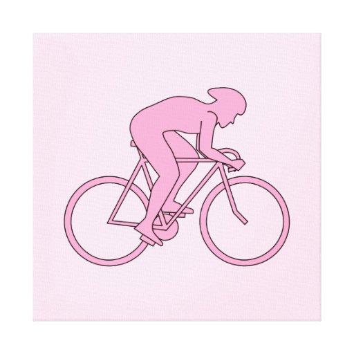 Ciclista en rosa impresion de lienzo