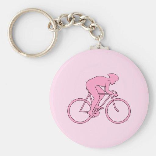 Ciclista en rosa llaveros