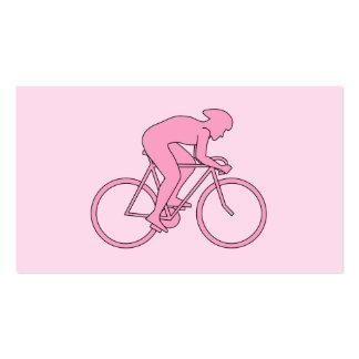 Ciclista en rosa tarjetas de visita