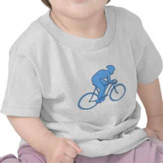 Ciclista en una raza Azul Camisetas