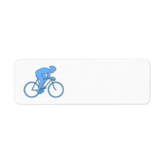 Ciclista en una raza. Azul Etiqueta De Remite
