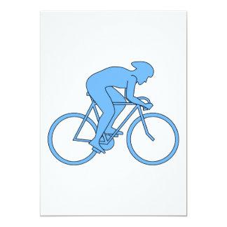 Ciclista en una raza. Azul Invitación Personalizada