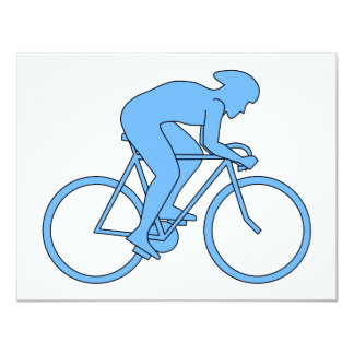 Ciclista en una raza. Azul Invitaciones Personalizada