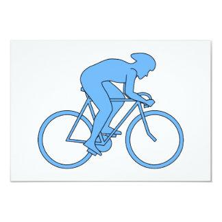 """Ciclista en una raza. Azul Invitación 3.5"""" X 5"""""""