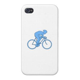 Ciclista en una raza Azul iPhone 4 Carcasas