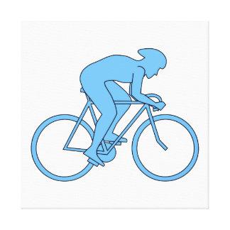 Ciclista en una raza. Azul Impresión De Lienzo