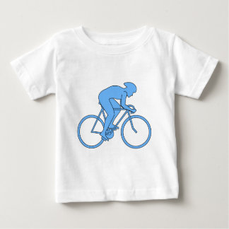 Ciclista en una raza. Azul Remera