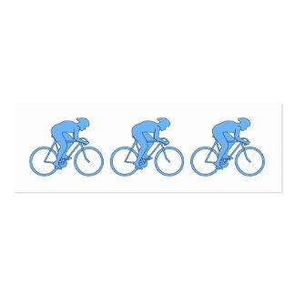 Ciclista en una raza. Azul Tarjetas De Visita Mini