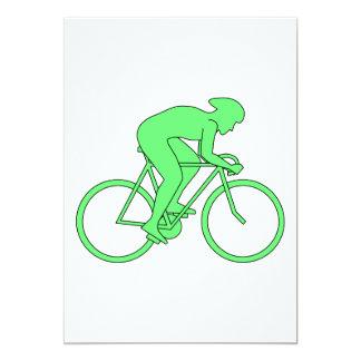 Ciclista en verde invitacion personalizada
