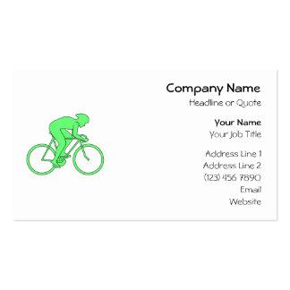 Ciclista en verde tarjetas de visita