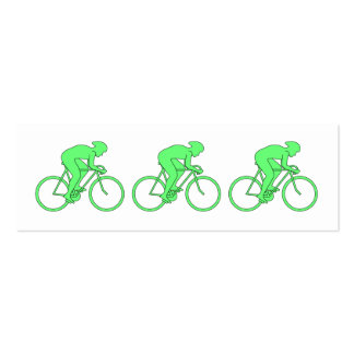 Ciclista en verde tarjetas de visita mini