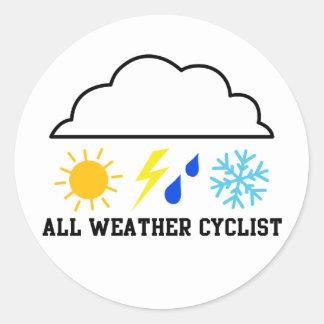 Ciclista para cualquier estación pegatina redonda