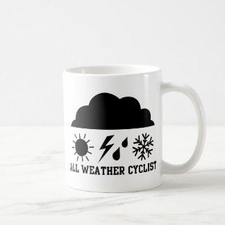 Ciclista para cualquier estación taza de café