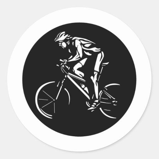 Ciclista Pegatina Redonda