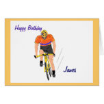 Ciclista que compite con la tarjeta de cumpleaños.