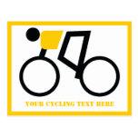Ciclista que monta su personalizado de la biciclet postales