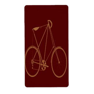 Ciclista rojo de la bici del moreno de la biciclet etiquetas de envío