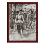 Ciclistas de la señora del vintage tarjeta postal