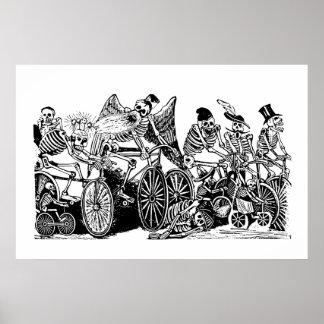 Ciclistas esqueléticos de José Guadalupe Posada Póster