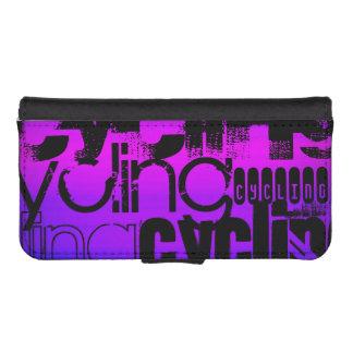 Ciclo; Azul violeta y magenta vibrantes Fundas Billetera De iPhone 5