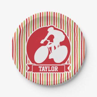 Ciclo, ciclista; Rojo, rayas verdes anaranjadas Plato De Papel De 7 Pulgadas