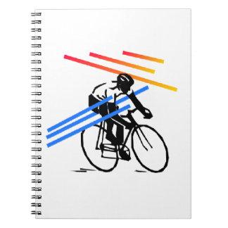 Ciclo colorido de la bici libro de apuntes