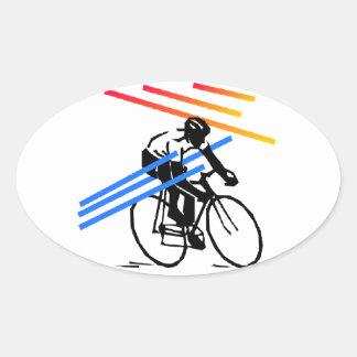 Ciclo colorido de la bici pegatina ovalada
