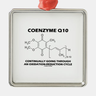 Ciclo de la oxidación-reducción de la coenzima Q10 Adorno Navideño Cuadrado De Metal