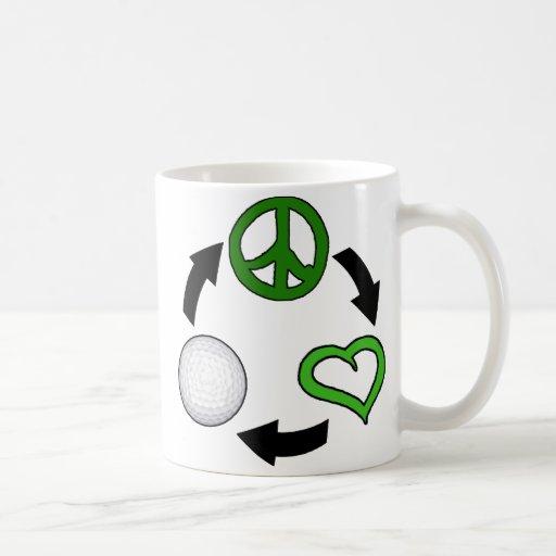 Ciclo de la paz, del amor y del golf taza