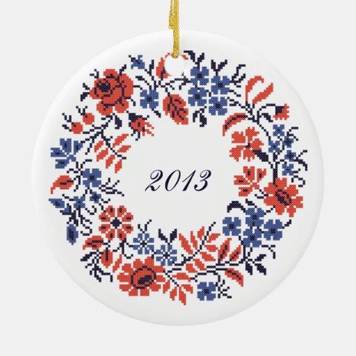 Ciclo de las flores de las Felices Navidad Adorno Navideño Redondo De Cerámica
