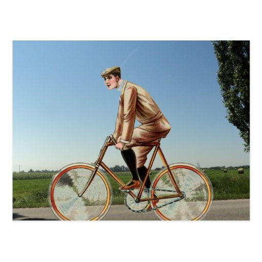 Ciclo del campo del vintage postal