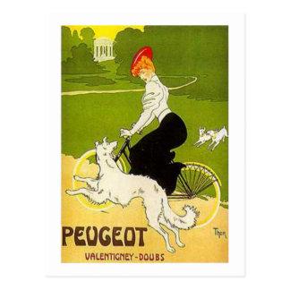 Ciclo del montar a caballo de la mujer de Peugeot Postales