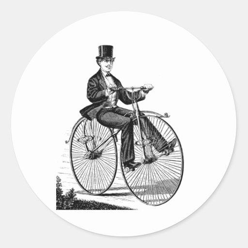 Ciclo del Victorian de la bicicleta de la rueda Pegatina Redonda