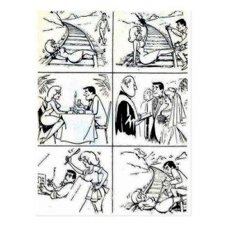 Ciclo divertido de la relación de la boda/de la tarjetas postales