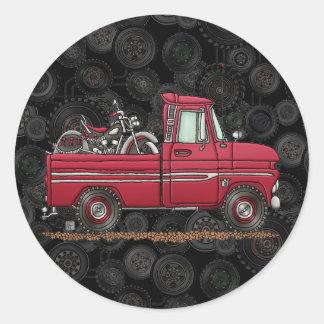 Ciclo lindo de la recogida pegatinas redondas