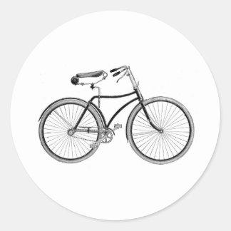 Ciclo pasado de moda de la bicicleta de la bici pegatina redonda