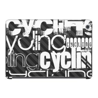 Ciclo; Rayas negras y gris oscuro Funda De iPad Mini