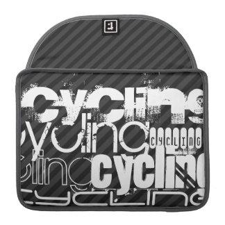 Ciclo; Rayas negras y gris oscuro Fundas Para Macbooks