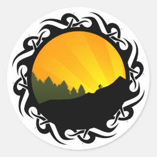 ciclo: rayz de la montaña: pegatinas redondas