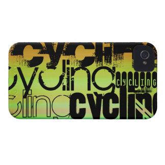 Ciclo; Verde vibrante, naranja, y amarillo iPhone 4 Case-Mate Funda