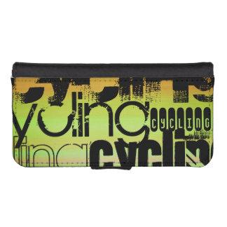 Ciclo; Verde vibrante, naranja, y amarillo Funda Tipo Billetera Para iPhone 5