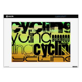 Ciclo; Verde vibrante, naranja, y amarillo Portátil Skins