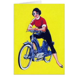 Ciclomotor galón de la motocicleta de las mujeres tarjeta de felicitación