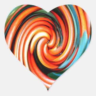 Ciclón anaranjado pegatina en forma de corazón