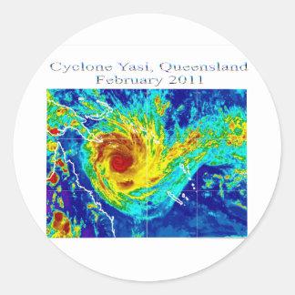 Ciclón Yasi, Queensland, febrero de 2011 Pegatina Redonda