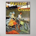 Ciclos de Peugeot - poster de la bicicleta del vin
