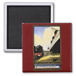 Cie Gie Transatlantique Vintage Travel Ad 2 Inch Square Magnet