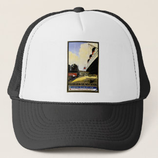 Cie Gie Transatlantique Vintage Travel Ad Trucker Hat